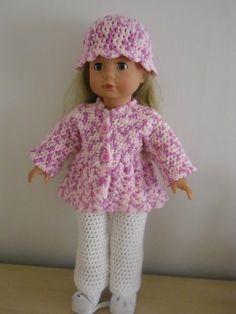 PDF Crochet pattern for 3 piece set for 18 inch doll, American Girl Doll or Gotz doll