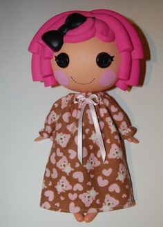"""Pink Teddy Bear Nightgown fits 12"""" Lalaloopsy dolls - doll clothes only"""