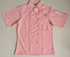Women's Happy Chef Pink Lightweight Chef Coat Size XS Short Sleeve | eBay