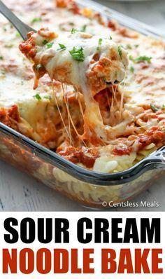 Sour Cream Pasta, Cream Cheese Pasta, Cream Sauce Pasta, Recipe For Sour Cream Noodle Bake, Spaghetti Bake Recipe With Sour Cream, Recipes Using Sour Cream, Beef Casserole Recipes, Baked Pasta Recipes, Spaghetti Recipes