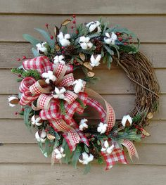 Your place to buy and sell all things handmade Winter Wreaths, Xmas Wreaths, Door Wreaths, Grapevine Wreath, Christmas Decorations, Holiday Crafts, Holiday Decor, Cotton Wreath, Cotton Crafts