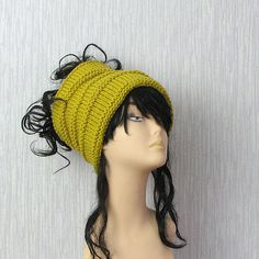 Dreadlock tube Hat  headband  head wrap in MUSTARD by DamovFashion