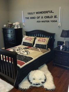 Supposed to be a bedroom for a young jedi. if this theme is really what my son and husband wanted, THIS is how i would go about it...
