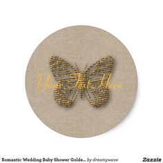 Romantic Wedding Baby Shower Golden Butterfly Classic Round Sticker