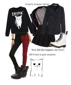 """""""chillin' like a villain"""" by red-foxess-and-wolf ❤ liked on Polyvore featuring Tripp, IRO, Diane Von Furstenberg, H&M, Sam Edelman and Dr. Martens"""