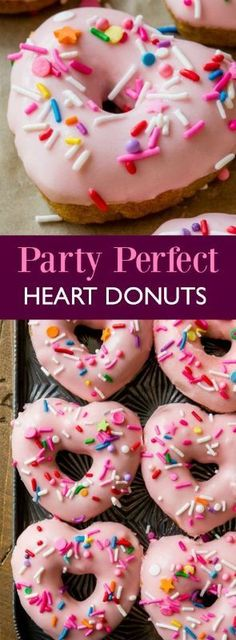 SO fun! Vanilla cinnamon donuts baked in a heart donut pan and topped with pastel pink glaze and rainbow sprinkles! BAKED not fried donut recipe on sallysbakingaddic. Valentine Desserts, Valentine Ideas, Sweet Desserts, Sweet Recipes, Valentines, Donut Recipes, Dessert Recipes, Breakfast Recipes, Breakfast Pastries
