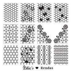 Lilic's stamping plate Rendas full nail small lace flower ethnic butterfly