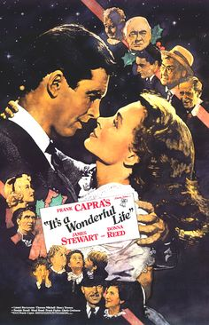 It's A Wonderful Life Movie Poster 27x40 George Bailey Jimmy Stewart Donna Reed Cast (Click to Buy)