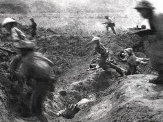 The battle of Dien Bien Phu, 1954. The First Indochina War between French colonial forces and the communist Viet Minh culminated with the ferocious 55-day siege of the last French stronghold in the north of the country, which began on 13 March 1954. The victory of the Vietnamese under General Giap led to the collapse of the French government and the eventual decline of their colonial empire. Vietnamese photographers restaged these scenes shortly after the real fighting occurred.