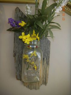 barnwood with mason jar...cute for flowers or floating candles, indoor/outdoor use.