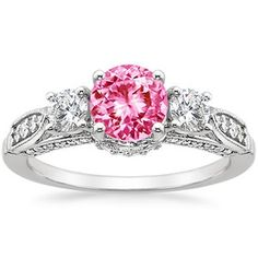 18K White Gold Sapphire Three Stone Heirloom Ring (1/2 ct. tw.)