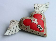 Leather Valentines Love Heart Tattoo Brooch by TheDollCityRocker-Crazy About this!!!