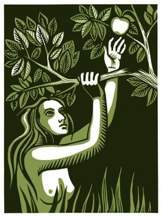 Modern Eve linocut by Winged Lion