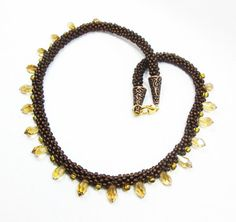 Brown and Amber Kumihimo Necklace by kiddercreations on Etsy