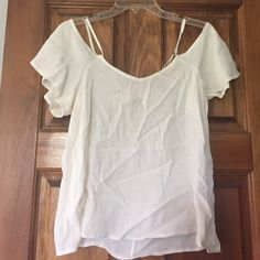 F21 !! 100% Rayon top. Cream Rayon top with spaghetti straps and sleeves hang down on upper arm. Light weight. Forever 21 Tops