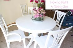 How to Paint a Dining Table & Chairs! Makeover Reveal!