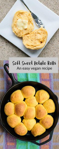 Sweet Potato Dinner Rolls | Beautifully orange-hued, soft and tender dinner rolls are made with mashed sweet potatoes and perfect accompaniment for any feast. These soft rolls are vegan easy to make, with just 3 minutes of kneading! | thecuriouschickpea.com #vegan #bread #baking #rolls