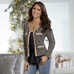 Glorious Knit Jacket from Monroe and Main. Capture all the glistening magic of the holidays decked in elegant style, with the cozy, knit comfort of a fave sweater. Knit Jacket, Jacket Dress, Blazer Jacket, Leather Jacket, Jacket Style, Latest Trends, Jackets For Women, Cozy Knit, Weekend Fun