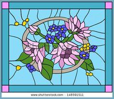 Flores y girasoles con brotes en vitral