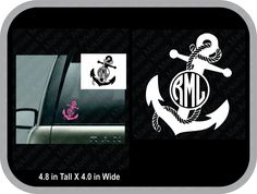 Solid anchor with rope monogram decal car decal, round anchor rope monogram, anchor sticker, rope mono, vine monogram, fancy anchor monogram - pinned by pin4etsy.com