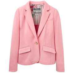 Joules Olivia Herringbone Jersey Blazer, Pale Pink ($140) ❤ liked on Polyvore featuring outerwear, jackets, blazers, pale pink, short jacket, short tailored jacket, red jacket, jersey blazer and single button blazer