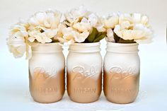 Painted Mason Jars, Mason Jars Bulk, Gold Jars, Metallic Jars, Dorm Decor, Painted Jars, Gold Centerpiece, Hipster Decor, Mason Jars, Chic by PaintedPaintbrush on Etsy https://www.etsy.com/listing/449105880/painted-mason-jars-mason-jars-bulk-gold