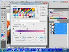 Learn how to use the gradient editor in Adobe Photoshop at www.teachUcomp.com. A clip from Mastering Photoshop Made Easy v. CS5. http://www.teachucomp.com/free - the most comprehensive Photoshop tutorial available. Visit us today!