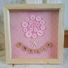 Personalised new baby gift.. Balloon buttons and scrabble letters Gifts For New Baby, New Baby Crafts, Creative Baby Gifts, Baby Gift Box, Baby Art, Baby Name Art, Baby Box Frame Ideas, Box Frame Art, Baby Ideas
