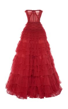 Tiered Ruffled Tulle Gown by J. Couture Mode, Couture Fashion, Event Dresses, Prom Dresses, Red Ball Gowns, Red Evening Gowns, Kpop Outfits, Beautiful Gowns, Dream Dress