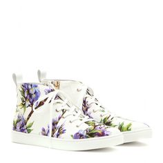 Dolce & Gabbana - Printed high-top sneakers - We can't get enough of the floral prints that are popping up all over Dolce & Gabbana's SS15 collection. Adding signature feminine flair to a classic design, these high-tops are laid-back luxe at its best. Style with dressed-down denim and basic jersey. seen @ www.mytheresa.com