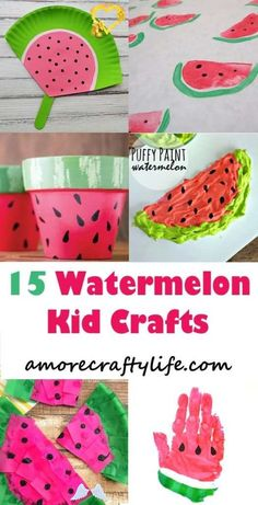 Watermelon Kids Crafts – Summertime Fun - A More Crafty Life<br> Summer Crafts For Kids, Craft Projects For Kids, Craft Activities For Kids, Summer Kids, Kids Crafts, Craft Ideas, Watermelon Painting, Watermelon Crafts, Diy Crafts To Do