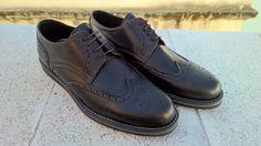 Calfskin Wing Tip Derby Shoes - Dark Brown
