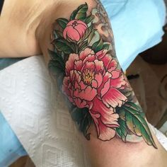 #peonytattoo #innerbiceptattoo #nc #friend #tattoo