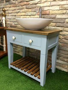 Handmade-Bespoke-Vanity Unit-Washstand-Oak Top-Painted Furniture-F&B