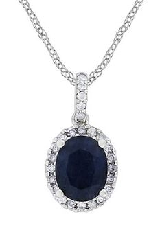 HauteLook   Birthstone of the Month: Sapphire: 14K White Gold Oval Diffused Sapphire & Diamond Halo Pendant Necklace