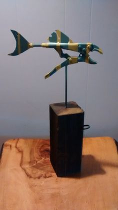 Fish Sculptures from reclaimed metal and driftwood