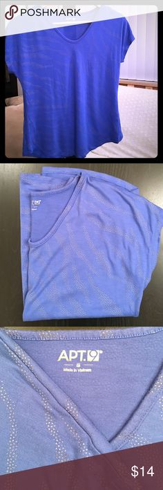 Apt. 9 Embellished Scoop Neck Tee  Small Blue with Silver Designs • Soft Fabric • Worn Once • LIKE NEW!! Apt. 9 Tops Tees - Short Sleeve