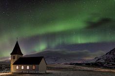 Aurora Borealis at the Church at Hellnar - Iceland
