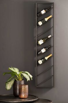 Wine bottle display Kylie M Interiors Wine Rack Wall, Wine Wall, Wine Shelves, Wine Storage, Wine Bottle Display, Wine Rack Design, Laundry Room Wall Decor, Home Bar Decor, Home Bar Designs