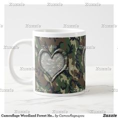 Camouflage Woodland Forest Heart on Camo Giant Coffee Mug by Camouflage4you