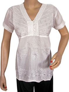 Indian Designer Embroidered Tops White Blouse Shirt Cotton Top Small Size | eBay $18.99