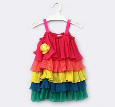 Girls Kids SZ 2-8Y Ruffle Layered Chiffon Rainbow Straps Flower Party Dress Cute