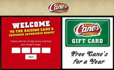 """Share your loyal feedback with Raising Cane's and grab a chance to win """"Free Cane's for a Year,"""" in the form of Raising Cane's Gift Card. #SurveySweepstakes #Feedback #Survey #Win #GiftCard"""