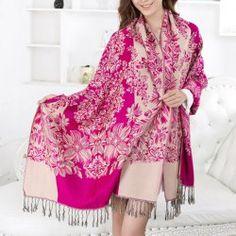 New Flower Pattern Tassels Pashmina For Women