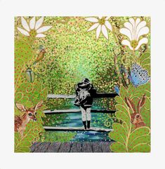 Pooh Sticks by Katwish. Stencil art and painting on canvas. A collaborative art work with husband, Simon Griffiths. Inspired by their walks in the Ashdown Forest. Mural Art, Murals, Stencil Art, Stencils, Collaborative Art, Inspiring Art, Walks, Sticks, Art Work