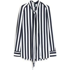 Mulberry Lariat Blouse ($720) ❤ liked on Polyvore featuring tops, blouses, shirts, cream, tie blouse, long sleeve tops, striped blouse, nautical tops and long sleeve blouse