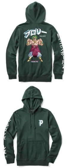 online retailer 26cb1 21821 Clothing 23825  Dragon Ball Z X Primitive Skateboards Dbz Dirty P Broly  Green Hoodie Sweatshirt -