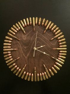 Bullet Clock with inert ammo. Great gift for shooters, hunters, military, man cave. -ad