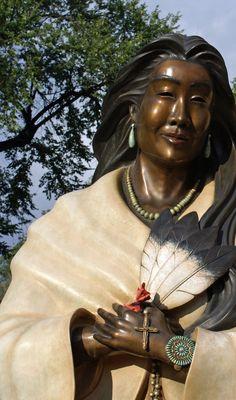 Estella Loretto (sculptor) - Detail: Blessed Kateri Tekakwitha - installed Saint Francis Basilica in Santa Fe, New Mexico - photo via