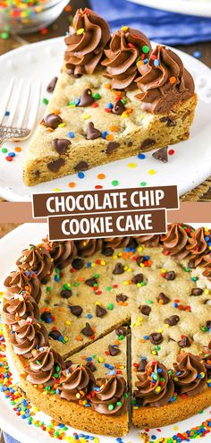 This Chocolate Chip Cookie Cake is moist, chewy and super easy to make! You can easily decorate and customize this cookie cake for a birthday or other special occasion! cake Chocolate Chip Cookie Cake with Chocolate Frosting & Sprinkles Dessert Dips, 13 Desserts, Smores Dessert, Cookie Desserts, Cookie Recipes, Delicious Desserts, Dessert Recipes, Homemade Cookie Cakes, Food Cakes